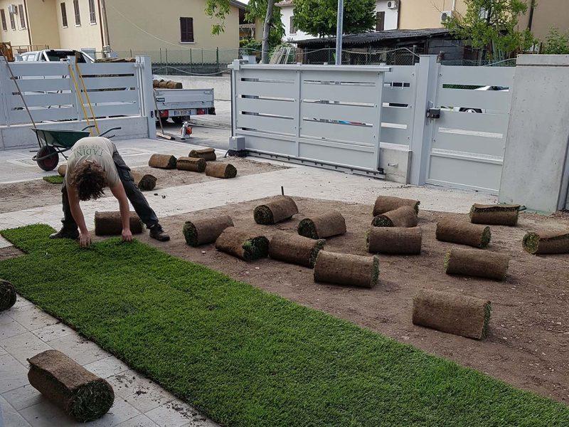 posa strisce di erba